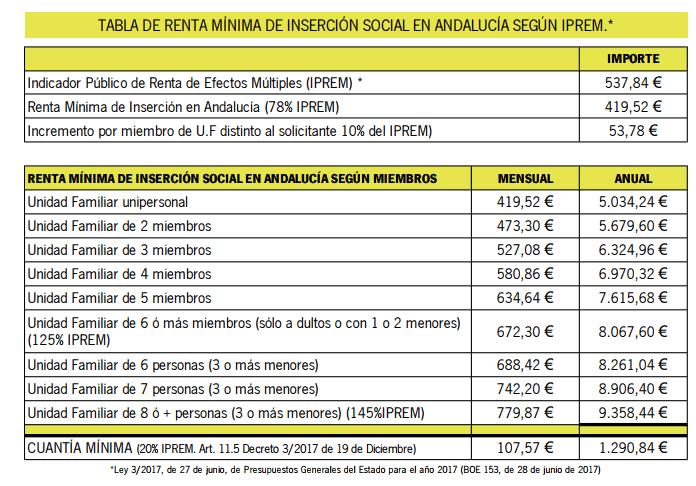 cuantía de la renta mínima de inserción social en Andalucía